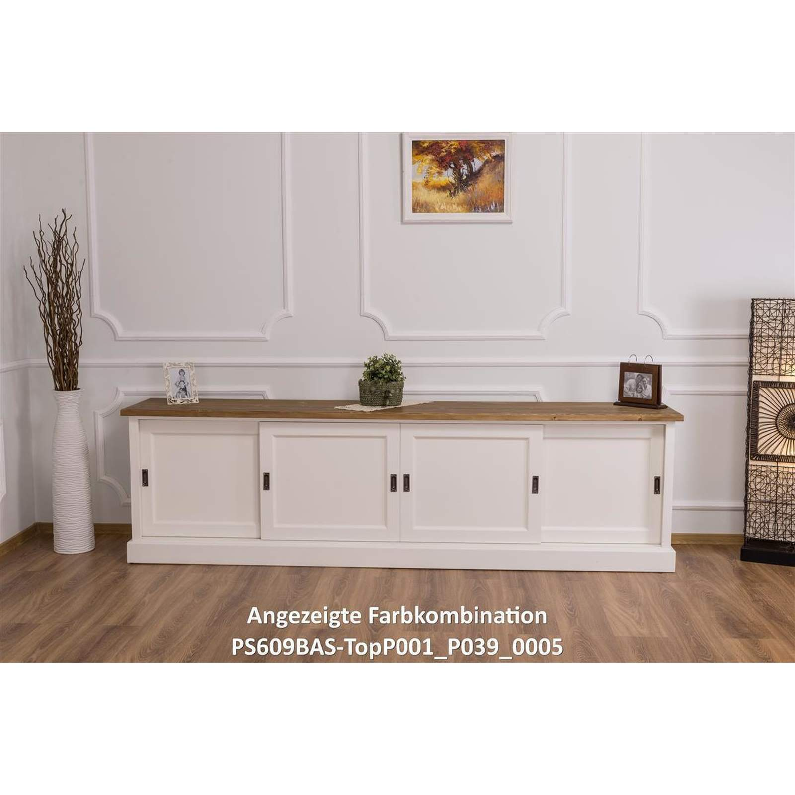langes tv sideboard mit schiebet ren massivholz landhausstil 514 29. Black Bedroom Furniture Sets. Home Design Ideas