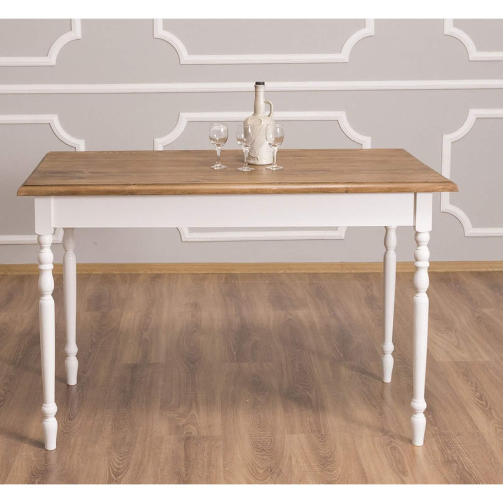Rustikaler Massivholz Esstisch weiß 120 x 70 cm, 283,62 €   Esstische   Gastronomie   und ...